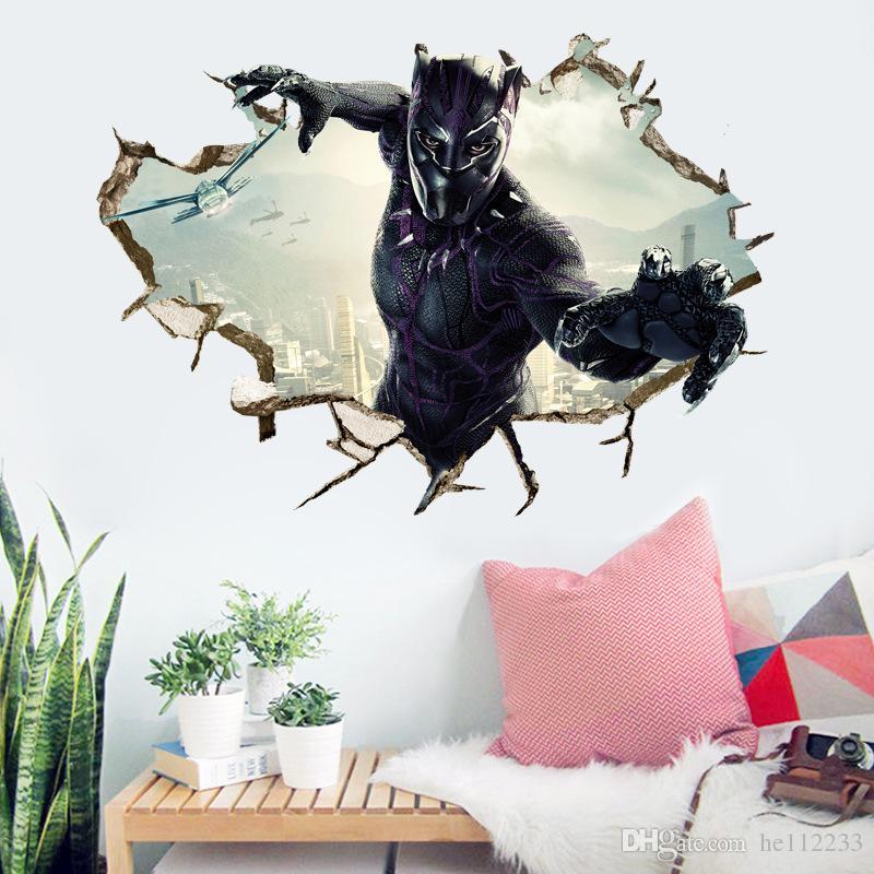 Desenhos animados 3D Adesivos Vingadores Pantera Negra Adesivos de Parede À Prova D 'Água PVC Wallpapers Pode Ser Removível Menino Quarto Sala de estar Decoração