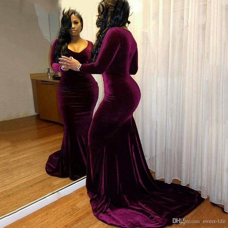 94ea944fa4b Plus Size Velvet Long Sleeves Purple Prom Dresses 2K18 Mermaid Sexy V Neck  Black Girls Formal Sweep Train Customized Formal Dresses Evening Orange Prom  ...