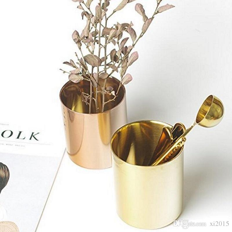 400ml Nordic Style Brass Gold Vase Stainless Steel Cup Cylinder Pen Holder For Desk Organizers W7390 Black Glass Vases From Xi2017 6 3 Dhgate