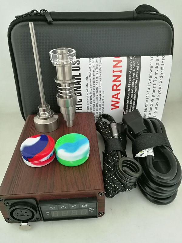 Kit unghie portatile al quarzo Elettrico da unghie PID Controllo della temperatura E Kit unghie in rilievo Kit vaporizzatore di cera 14 18 MM Oil Rig Box Bong in vetro