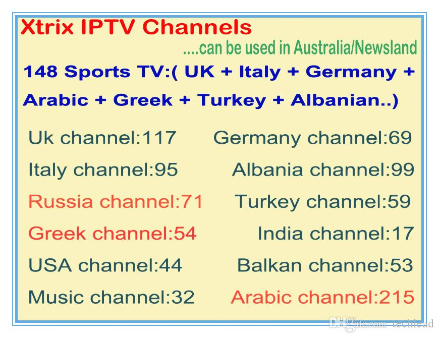 Xtrix HD Arabic TV Channels Subscription Greek Italian Italy UK Albanian  Germany Turkish TV EPG VOD Indian European Australian