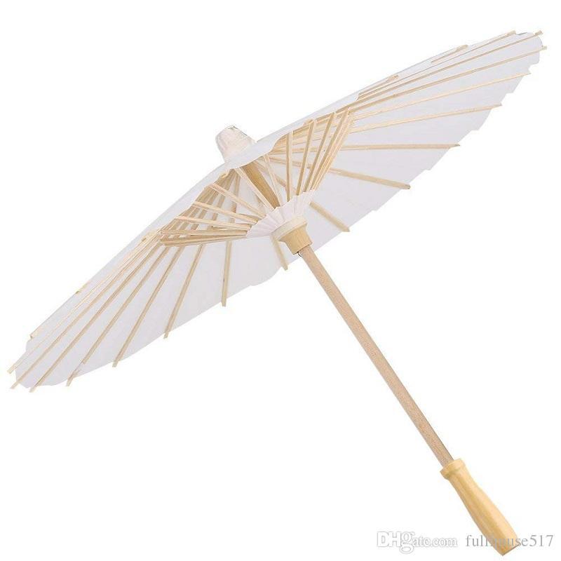 Satın Al Kağıt şemsiye çin Japon Dekoratif şemsiye Beyaz Diy Boyama