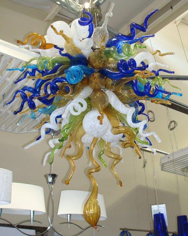 Cadena barato rústico Chihuly Cuerpo de iluminación LED AC soplado a mano redondo del estilo de la lámpara de cristal pendiente moderna
