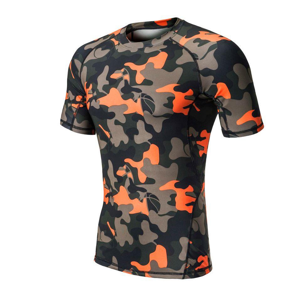 62f1fb7d6d72 Großhandel Camo Männer Compression Laufen T Shirts Yoga Strumpfhosen Fitness  Laufen Radfahren Haut Basisschichten Tops Kurzarm Männlich Gym T Shirts Von  ...