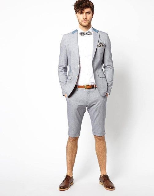 2019 New Style Grey Men Suit With Short Pant Jacketpantstie Summer