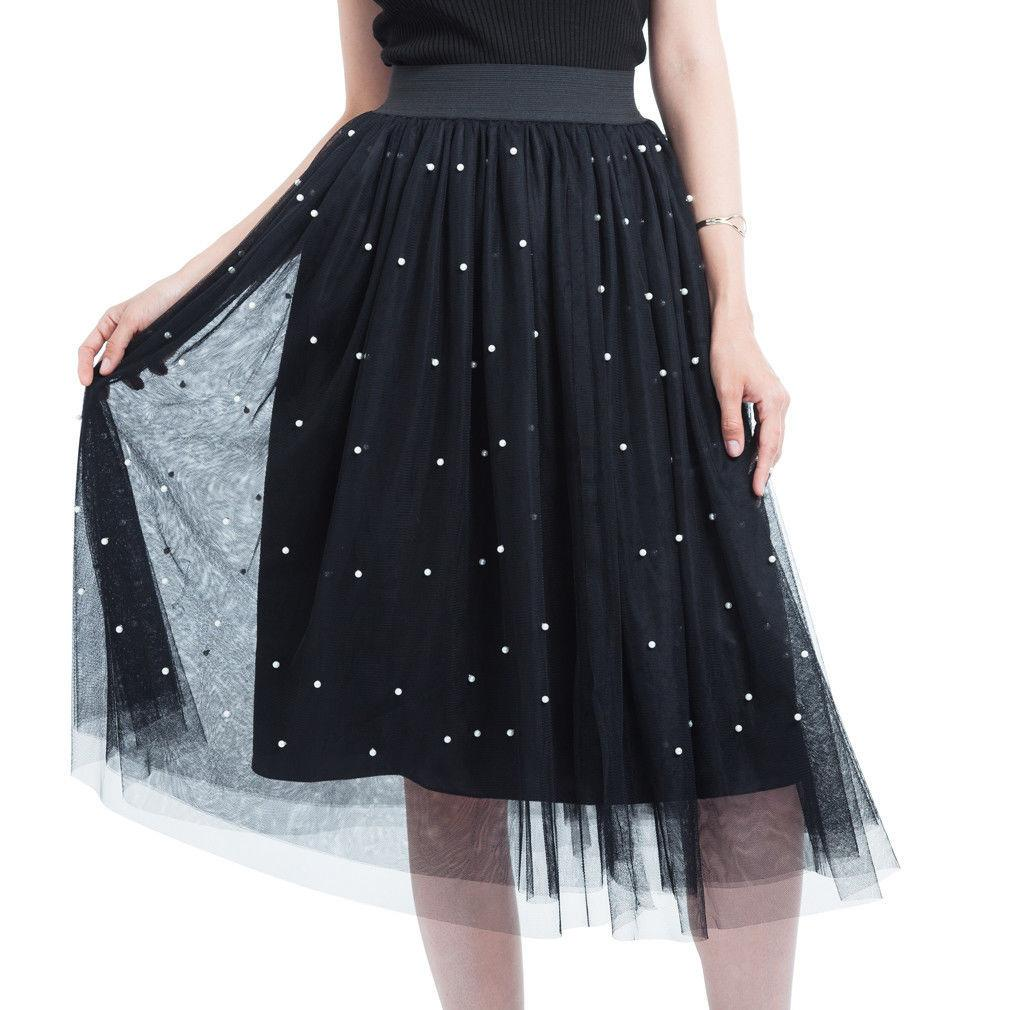 2a3e4ea8786 2019 2018 Spring Summer Sweet Pearl Skirts Womens Elastic High Waist Tulle  Mesh Skirt Long Pleated Tutu Skirt Female Jupe Longue From Qinfeng03