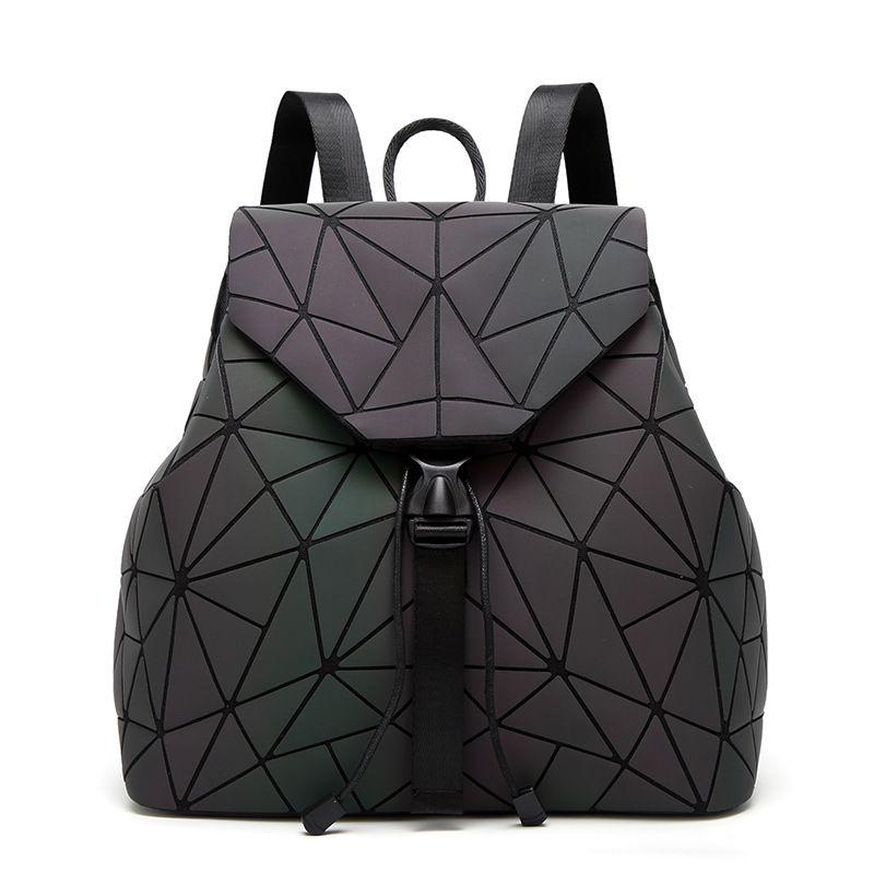 664221cba9a8 Women Laser Luminous Backpack Fashion Geometric Shoulder Bag Folding  Student School Bags For Teenage Girl Bao Backpack BB119