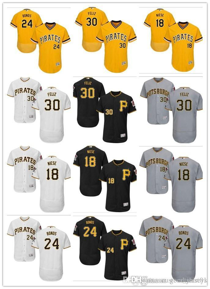 50df79daeb custom Men women youth Pittsburgh Pirates Jersey #30 Neftali Feliz 18 Jon  Niese 24 Barry Bonds Black Yellow Grey Baseball Jerseys