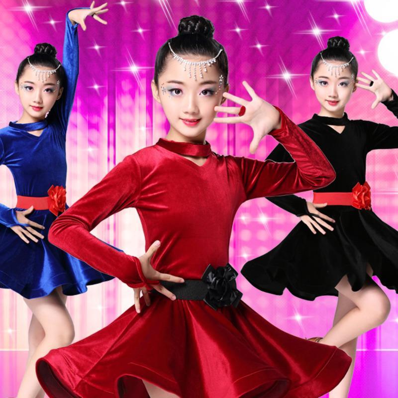 bc94f997d0d39 2019 2018 Girls Velvet Latin Dresses For Dancing Ballroom Dance Dress Rumba Samba  Children Samba Cha Cha Tango Skirt Standard Salsa From Frenzen, ...