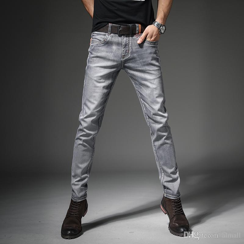 Compre 2018 New Mens Brand Jeans Moda Hombres Casual Slim Fit Straight High  Stretch Feet Skinny Jeans Hombres Negro Hot Sell Male Pantalones A  35.54  Del ... 2a947664e63