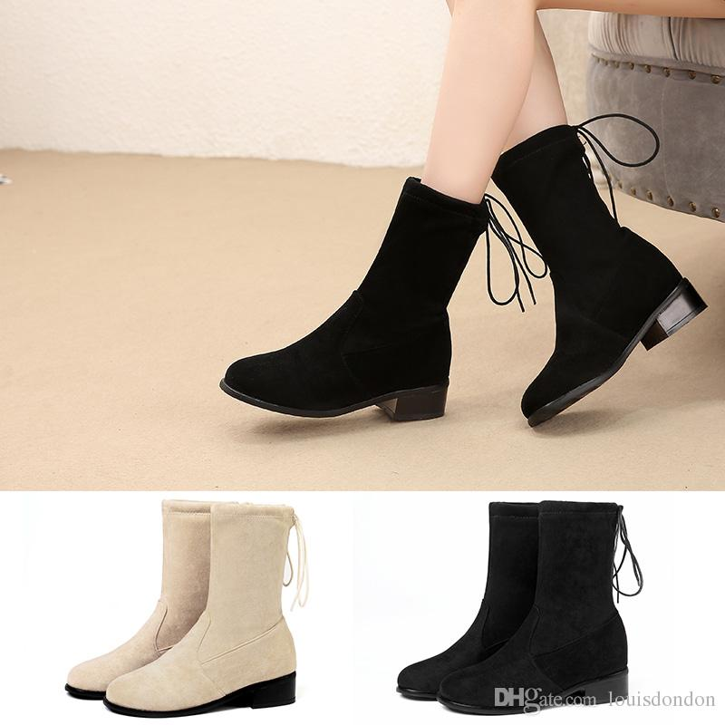 98f0865f0dd1e Fashion Women Ankle Boots Stretch Faux Suede Soft Winter Black Booties  Chunk Heel Back Lace Up Dress Shoes Ladies Plus Size 45 46 Rain Boots Mens  Shoes From ...