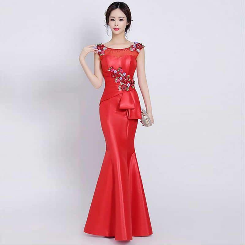 32e70155f Compre Vestido De Noche Chino Rojo Qipao Larga Cola De Pescado Mujer  Bordado Partido Tradicional Cheongsam Robe Chinoise Vestidos Estilo  Oriental A  135.39 ...