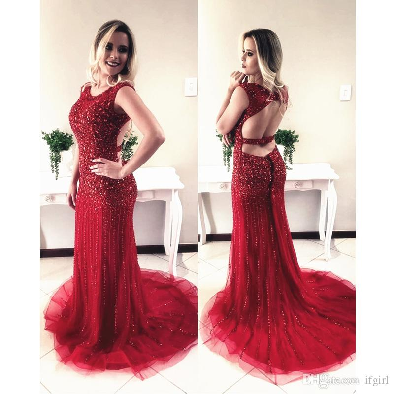 b85beb3b19 2018 Sexy Burgundy Backless Mermaid Prom Dresses Long Scoop Open Back Cap  Sleeve Crystal Beaded Court Train Prom Dress Evening Gowns Prom Dress  Stores In ...