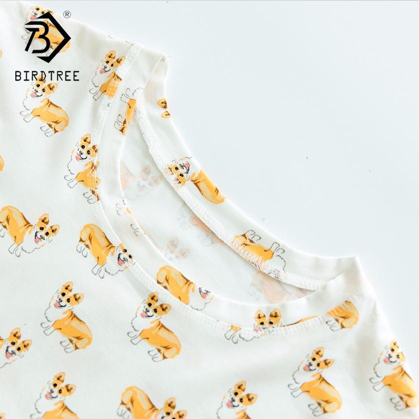 bda3ffbf28e9 2019 Women S Cute Corgi Dog Cartoon Print Pajama Crop Top Loose Fit White  Sleep Tops Plus Size Dropshipping Suport! T79502J From Begonier