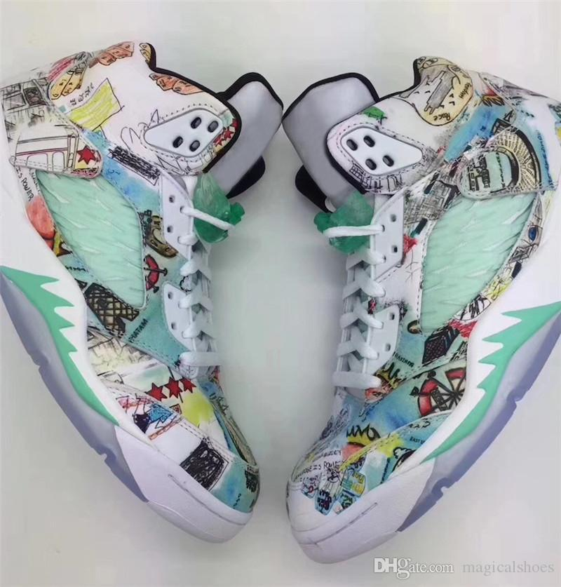 7fc1250e90 Top Quality 2018 5 Wings Man Basketball Shoes Multi Color AV2405 900 Glow  In The Dark Brand Design Authentic Sneakers With Original Box Kids  Basketball ...