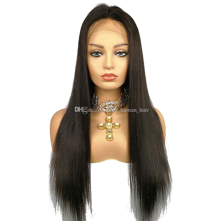 Deep Part Lace Front Wig Human Hair Wig Silky Straight 130% Density Malaysian Virgin Hair Pre Plucked Hairline Full Lace Wig Bleached Knots