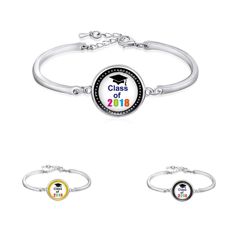 Graduation Birthday Gifts Silver Plated Emoji Nebula Unicorn Graduate Senior Class Of 2018 2019 Open Bangle Bracelet For Women Bangles Gold Designs