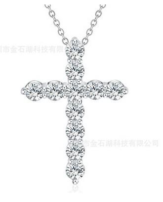 Foreign trade hot new jewelry Silver fashion Korean luxury shiny large zircon crystal cross necklace