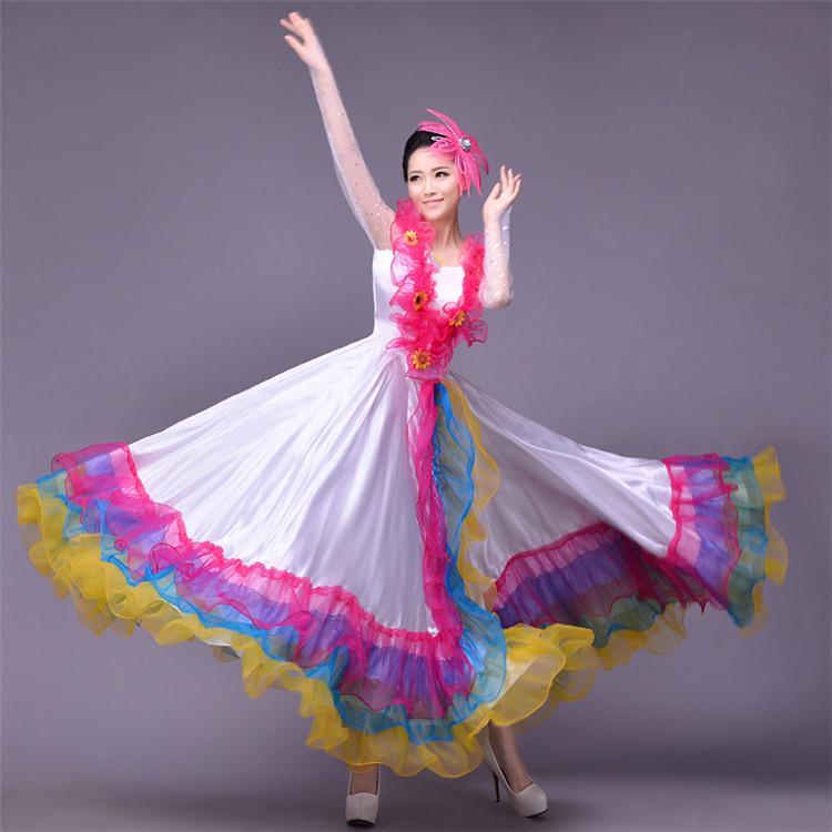 318b6a98dd0a71 360 degrés costumes espagnols pour les femmes filles corrida danse du  ventre robe jupe longue robe Flamenco fille rouge robes de flamenco L219