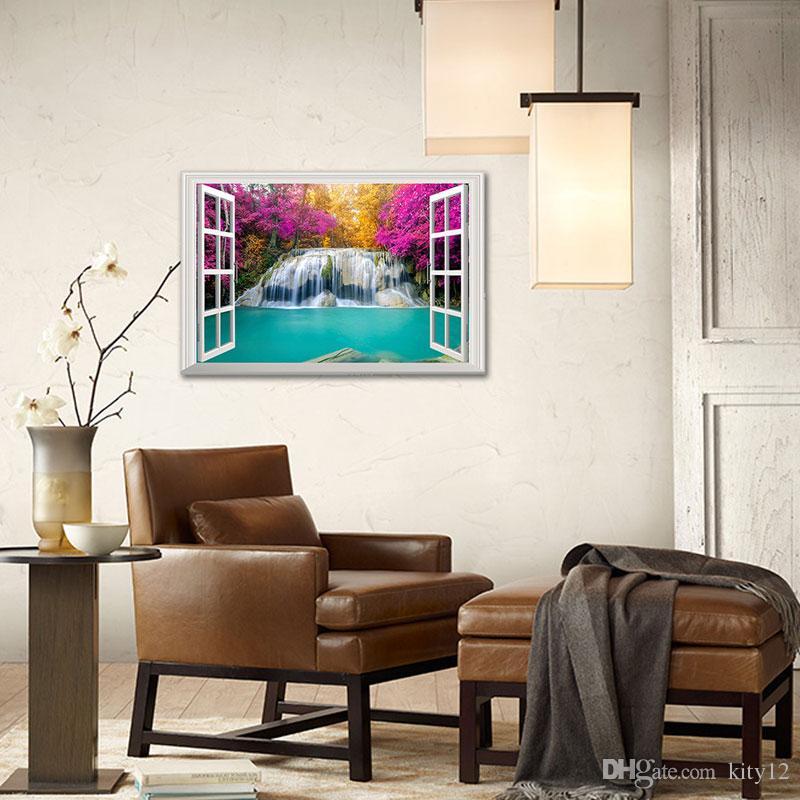 Sıcak Satış 3d Pencere Çıkartma Amazing Şelalesi Manzara Manzara Duvar Kağıdı Duvar Sanatı Vinil Ev Dekorasyon Duvar Çıkartması