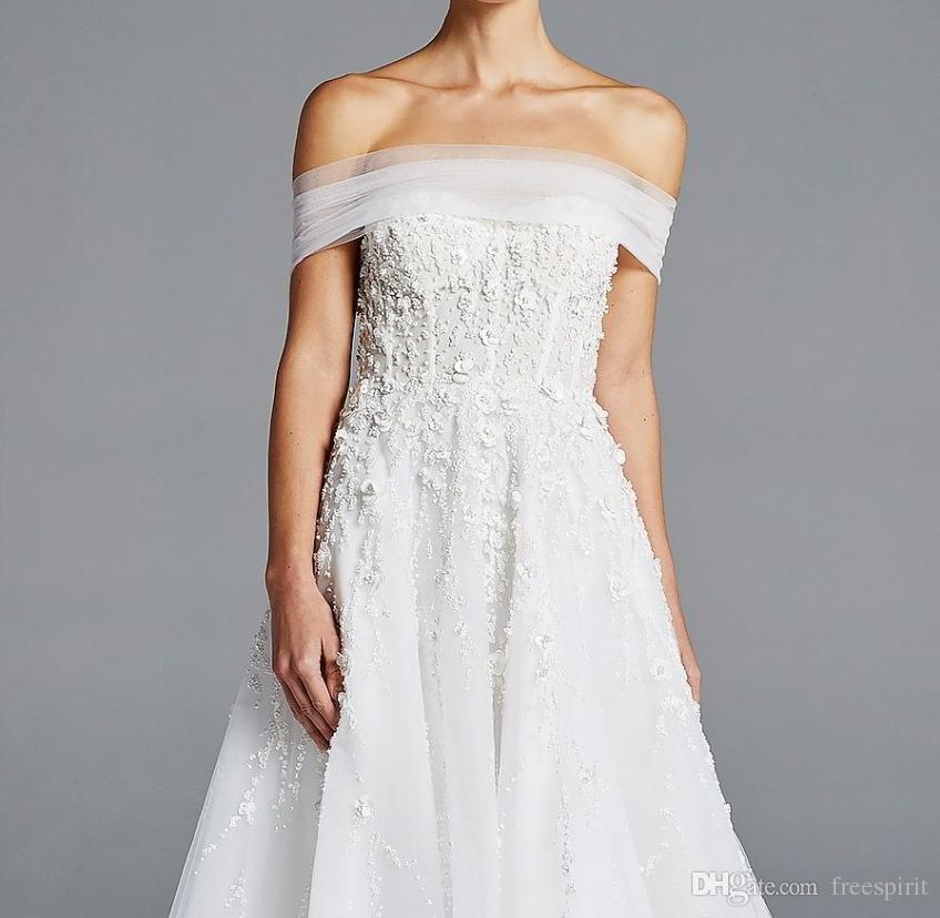 Discount Romantic Beaded Bodice Wedding Dress Off Shoulder Strapless ...