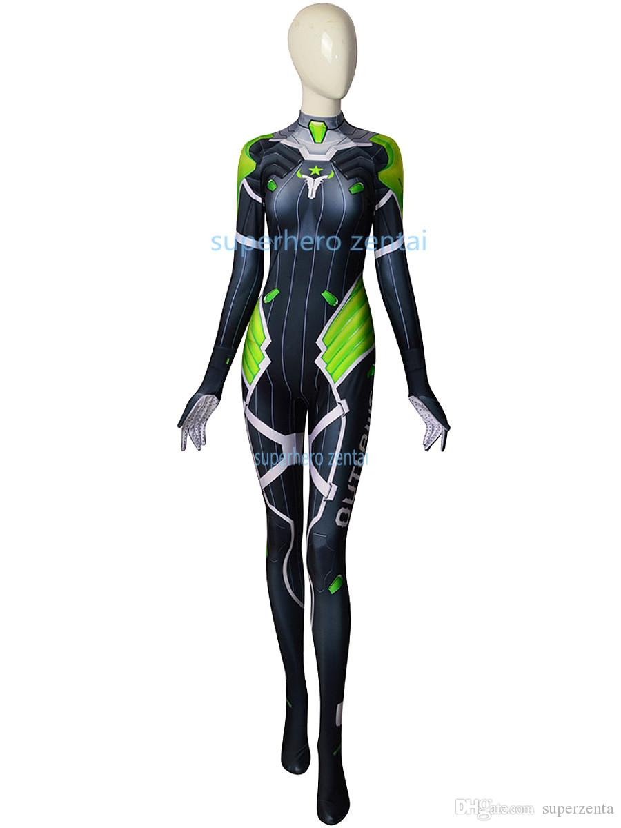 Newest D.Va Costume Printed spandex D.Va Cosplay Zentai bodysuit Superhero video game catsuit women/girl/custom