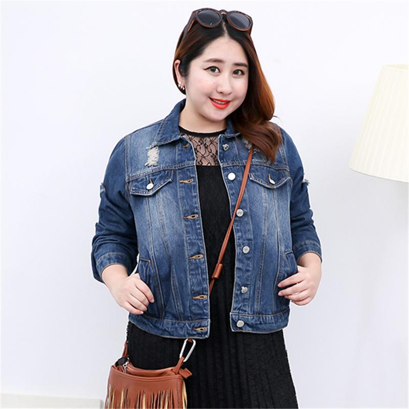 a266e291078f9 Fashion Plus Size Denim Jacket Women 2018 Vintage Ripped Jeans Outerwear  Ladies Coat Tops Slim Blue Basic Jacket Clothing A338 Womens Leather Jacket  Suede ...