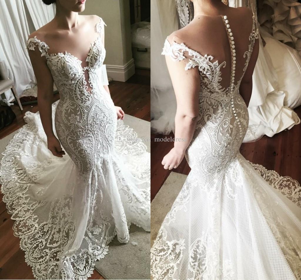 b37d898f76b Luxury Steven Khalil Mermaid Lace Wedding Dresses 2018 Sheer Neck Appliques  Illusion Back Chapel Train Bridal Gowns Plus Size Customized Perfect  Wedding ...