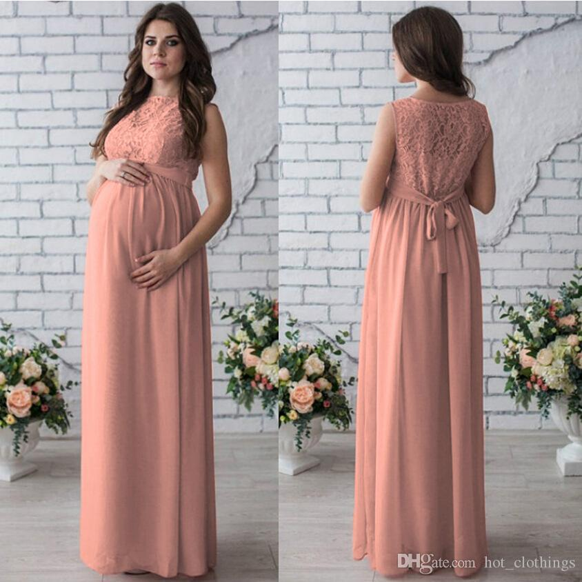 2018 New Arrival Lace Maternity Dresses Sleeveless Maternity Photography  Props Women Long Maxi Dress Sexy Gown Lace O,Neck Pregnancy Dress