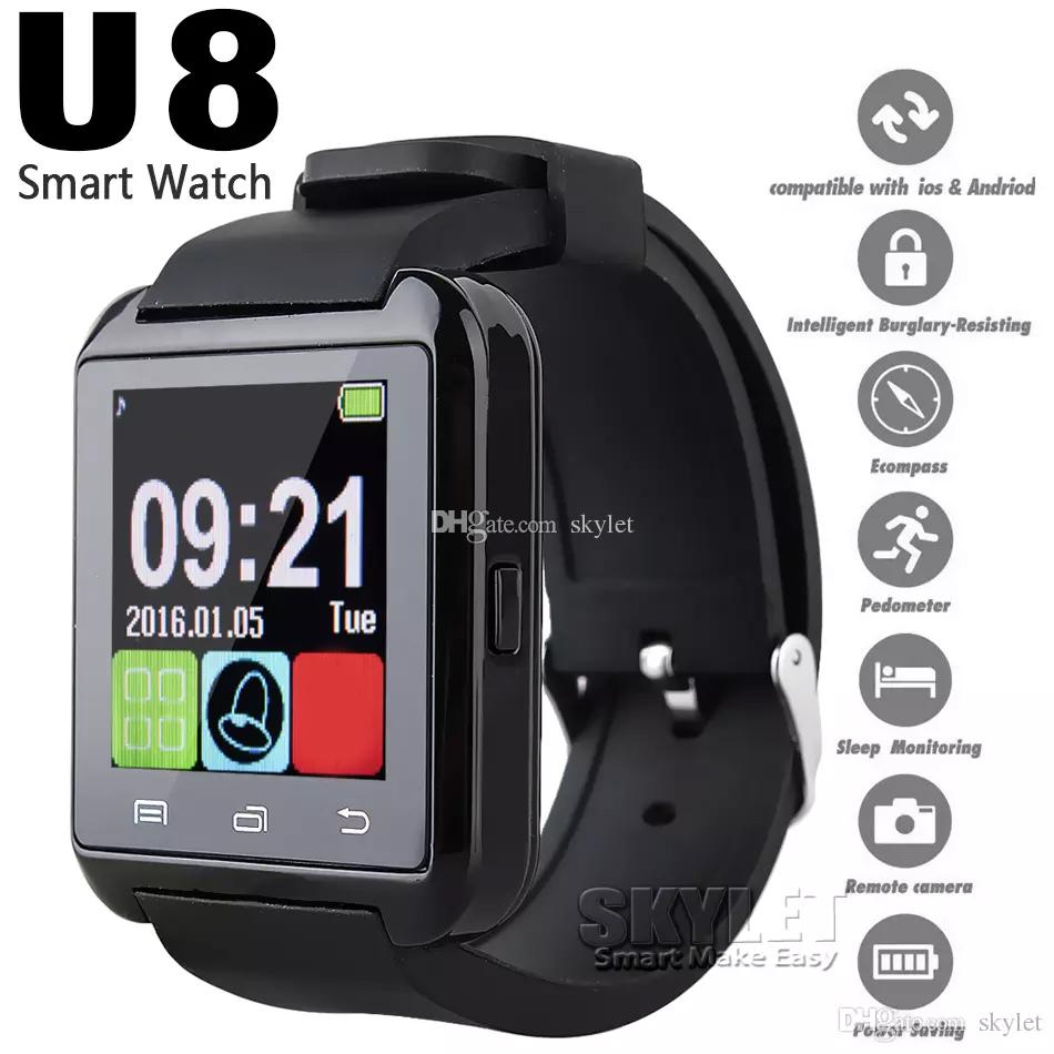 Bluetooth U8 Smartwatch Montres écran tactile pour Samsung S8 téléphone Android sommeil Smart Monitor montre avec emballage de détail