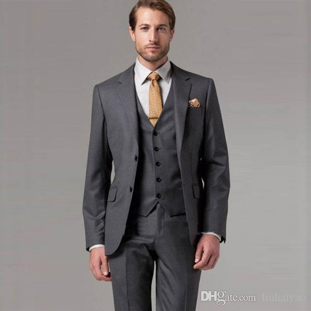 fba77550b3698 2019 Custom Made Mens Suits Designers 2018 Grey Ternos Para Hombre Black  Mens Suits Single Breasted Slim Fit Formal Suit From Linhaiyao