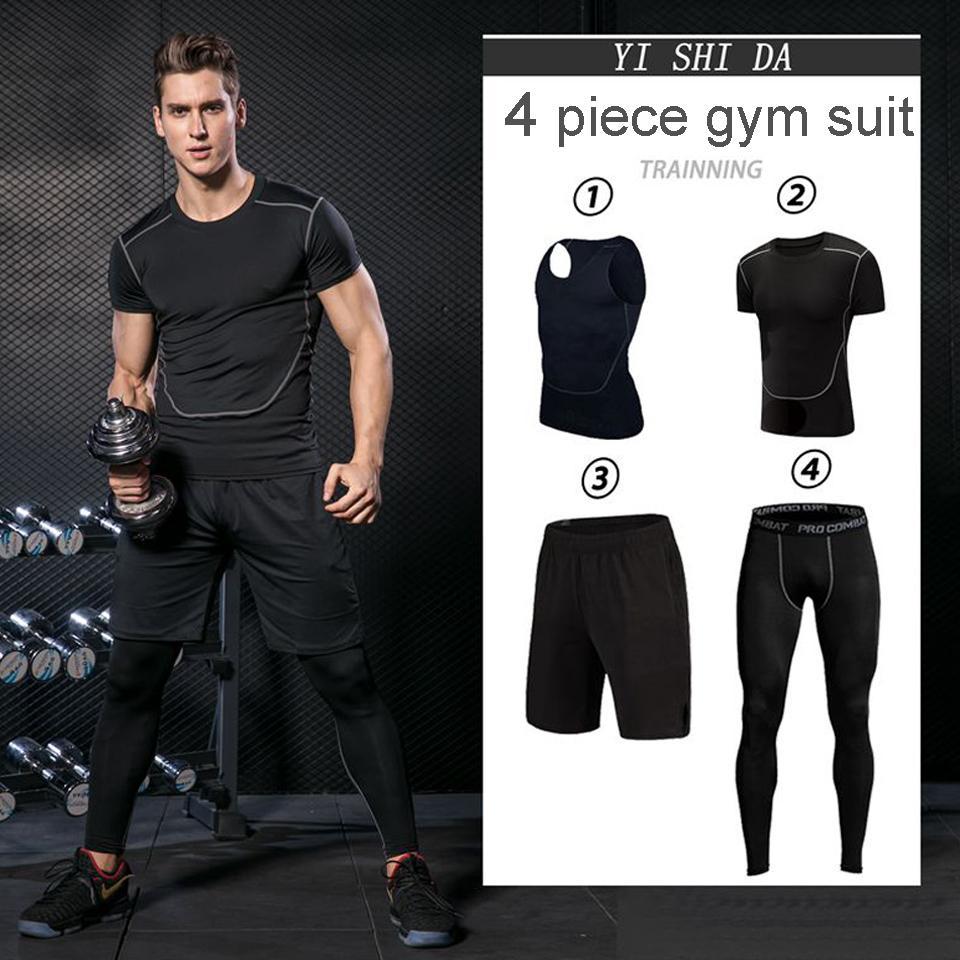Compre Mne s Gym Suits Para Hombre Ropa Deportiva Ropa Para Correr Fitness  Juegos Para Deportistas Traje De Compresión Jersey Para Correr Chándales  Ropa ... b0b764c464d26