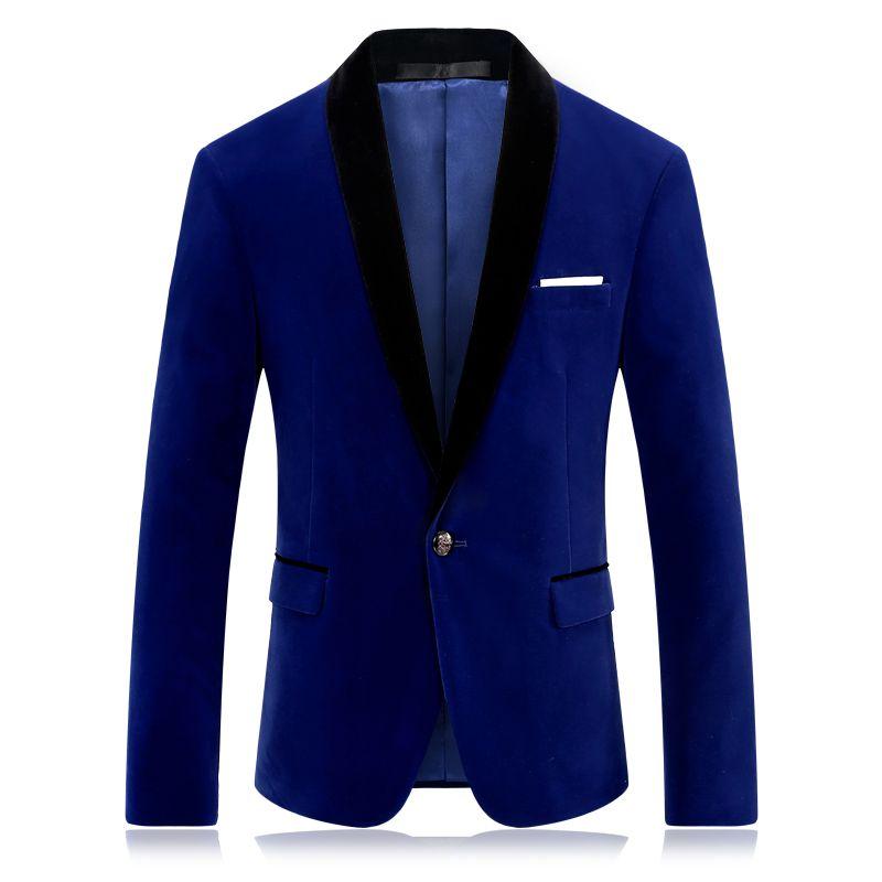 2b414026bdba 2019 Royal Blue Prom Blazer For Men Fashion Brand Stage Clothing For  Singers Slim Fit Mens Red Velvet Blazer Jacket From Xaviere, $98.6    DHgate.Com
