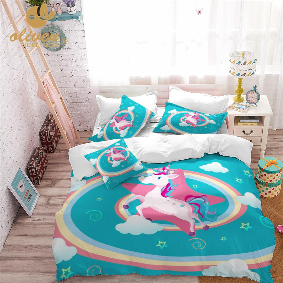 . Kids Bedding Set Unicorn Duvet Cover Designer Cartoon Animal Printed Bed  Line for Children Girl Princess Room 3pcs US AU RU Blue