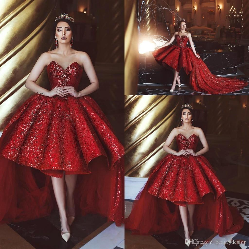 752f234cddb1 Tea Length Dark Red Short Prom Dresses Sweetheart Sequined Sparkly Formal  Party Event Gowns With Tulle Long Sweep Train BC0111 Long Sleeved Prom  Dresses ...