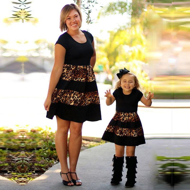 c250cddfffb Acheter Mère Fille Robes Famille Correspondant Tenues Noir Gloden ...