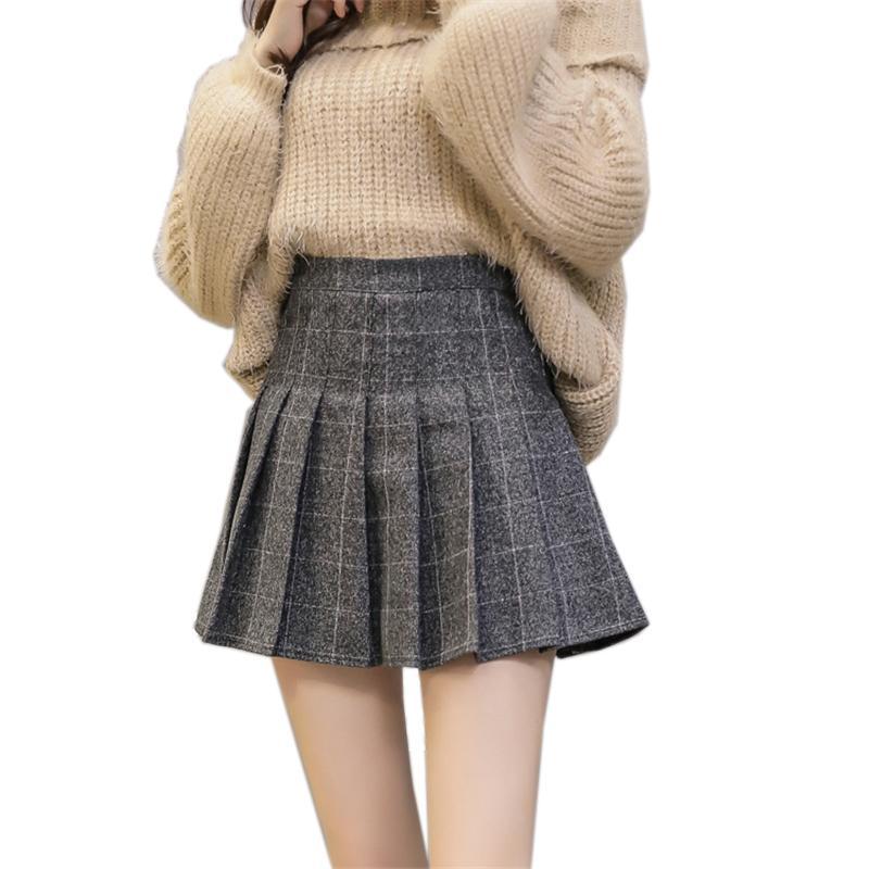 5e42c5674fd7 2019 2018 Autumn High Waist Pleated A Line Skirts Girls Harajuku Woolen Plaid  Skirts Sailor Mini Skirt Japanese School Skirt Uniform From Saltblue, ...