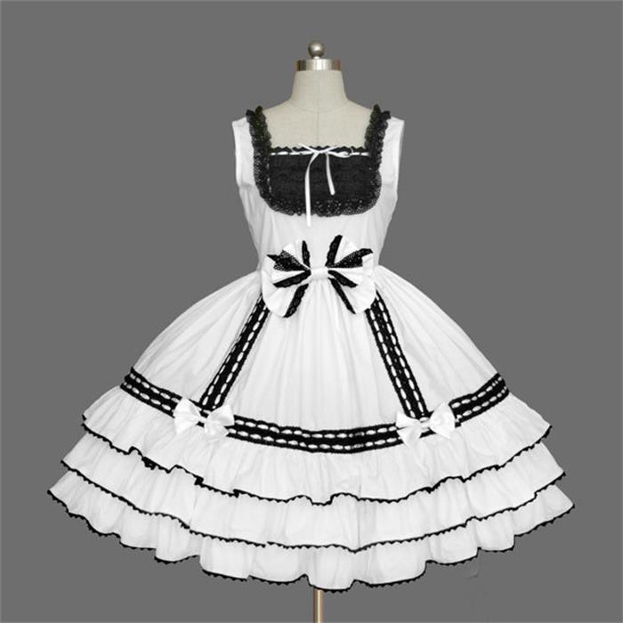 Compre Moda Lindo Negro Blanco Lolita Vestido Rendimiento Etapa Trajes  Criada En Marineros Japoneses Niña Trajes De Dibujos Animados Halloween  Cosplay A ... 0da1ae953424