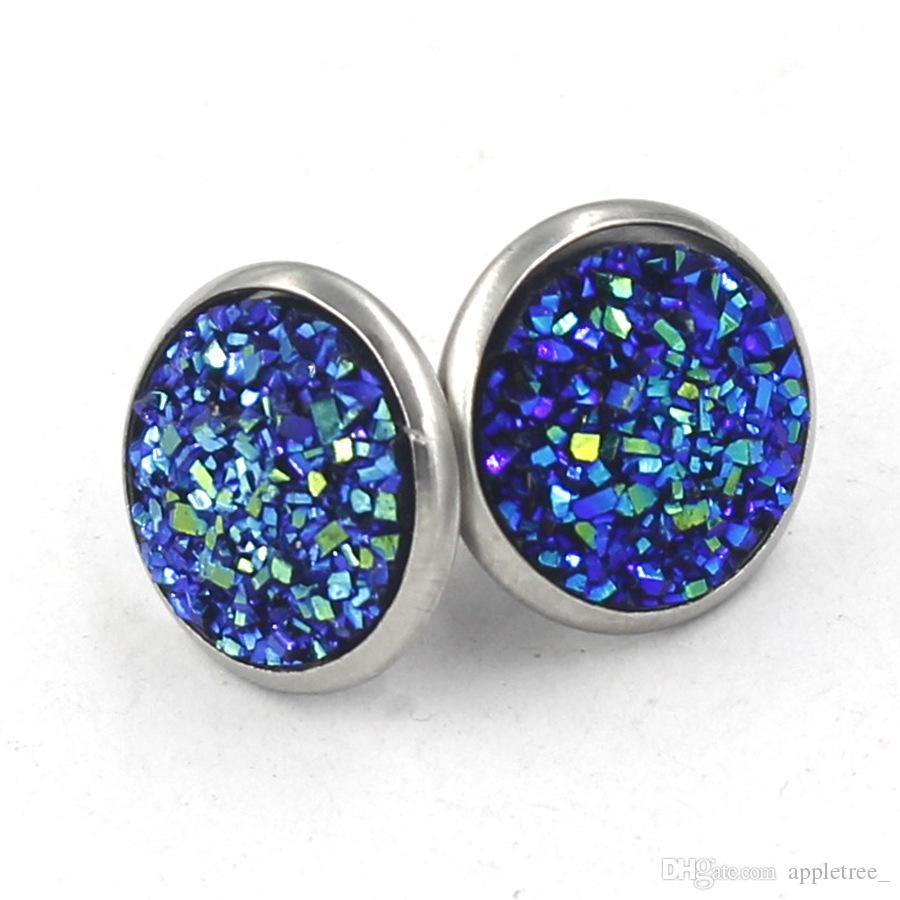 boucles d'oreilles druzy de luxe à la main ronde boucles d'oreilles à la mode simple en acier inoxydable ton boucle d'oreille designer boucles d'oreilles pour les femmes cadeau bijoux