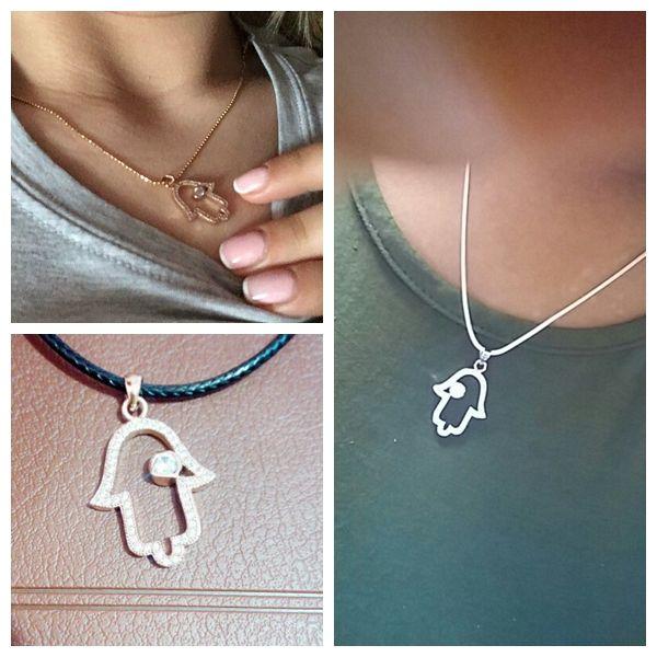 Wholesale Handmade DIY Jewelry Accessories Findings Fine Hamsa Fatima Hand Necklace Micro Pave Zircon Pendants Bijoux Colar Feminino Charms