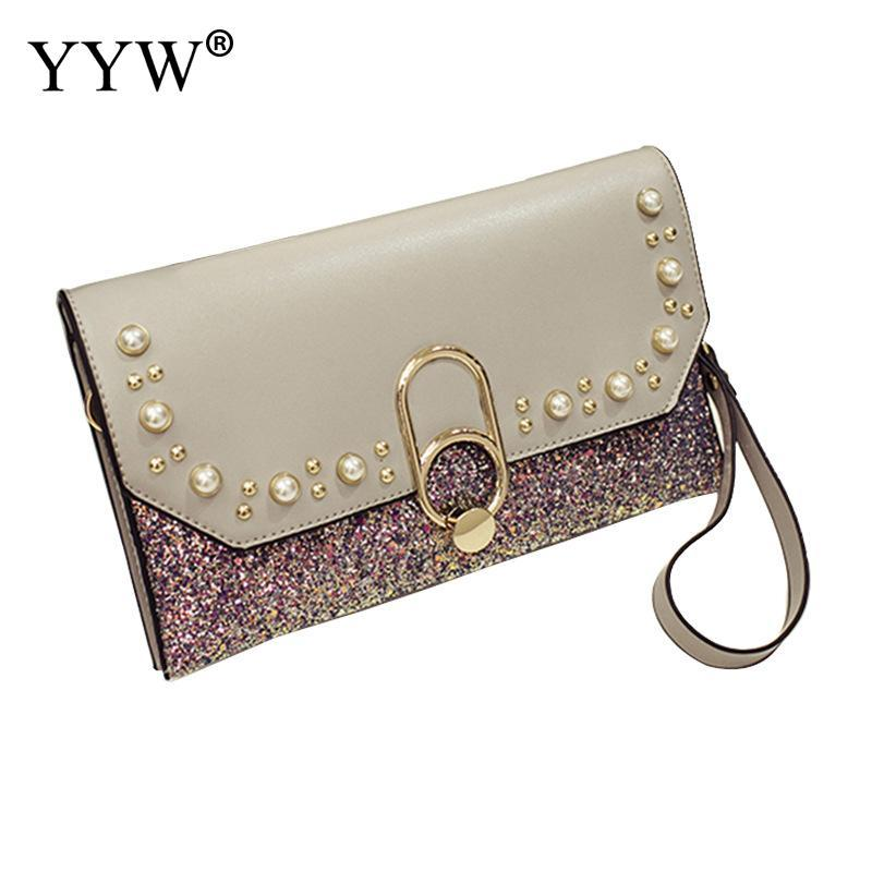 071aa332bf Pu Leather Envelope Clutch Bag Women Fashion Rivet Shoulder Bag Wallet  Sequin Party Evening Clutches Female Chain Purse Cheap Purses Handbags For  Women From ...
