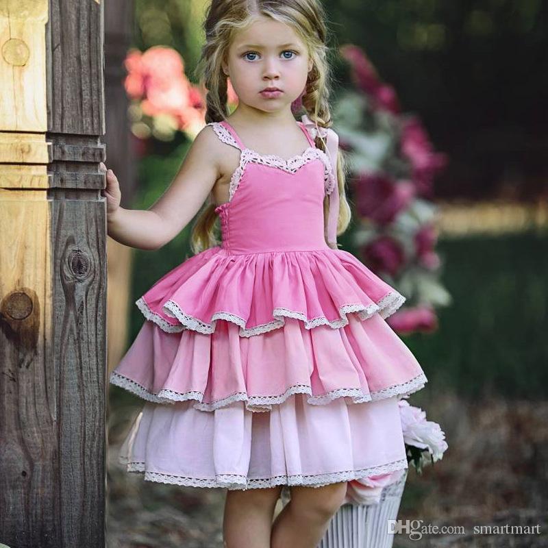 ecc7a5384c9 2019 Everweekend Sweet Kids Girls Ruffles Halter Princess Party Dress  Western Fashion Pink Purple Color Cute Children Summer Dresses From  Smartmart