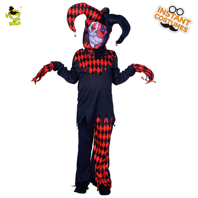 Killer Clown Halloween Costumes For Girls.New Evil Jester Costumes Boys Scary Clown Killer Role Play Outfit Children Party Masquerade Halloween Party Scary Clown Suit