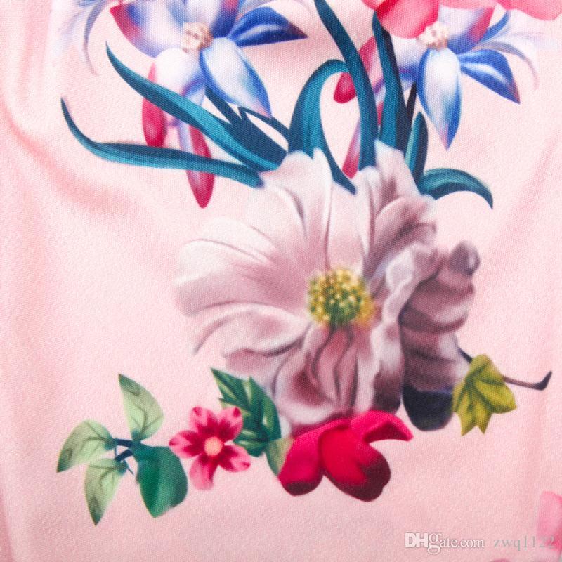 Vestido estampado floral de las nuevas muchachas ahuecado detrás arco grande vestidos de las muchachas del bebé Traje de la falda del verano fresco transpirable 2-7T
