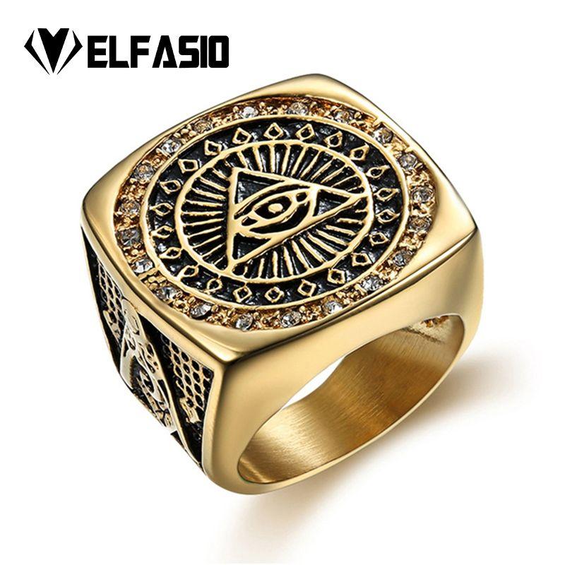 714ba66fe7c7 Compre Anillo De Oro Para Hombre Illuminati De Acero Inoxidable El Ojo De  La Luna Mide El Símbolo De La Pirámide   Ojo Hip Hop Jewelry Size 8 13 A   13.93 ...