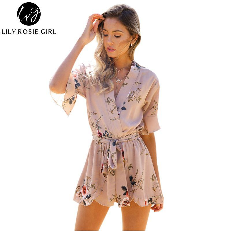 459002ef45fe 2019 Boho Red Floral Print Ruffles Playsuits Women Elegant Autumn White V  Neck Jumpsuits Rompers Sexy Beach Girls Short Overalls From Billstone