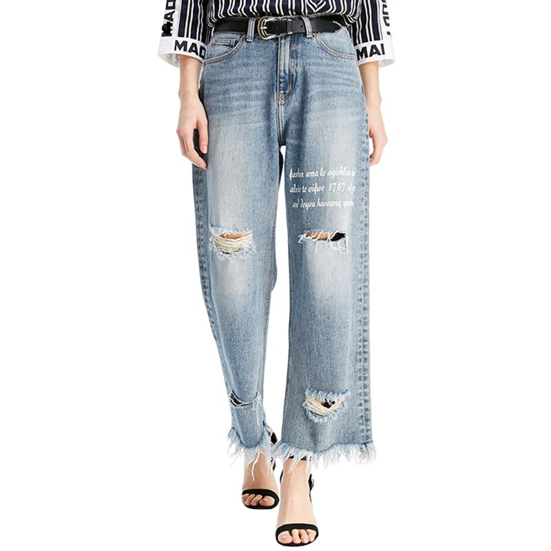 Compre MOBTRS Pantalones Vaqueros Nuevos Para Las Mujeres Flojo Agujero  Ocasional Rebabas Jeans De Pierna Ancha Moda De Mujer Señora Popular Tobillo  ... bb05f5945d1c