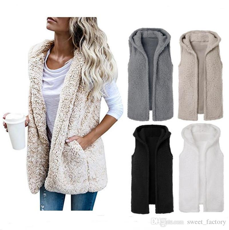 a6eef86102b88 2019 Women Sherpa Vest Sleeveless Berber Fleece Waistcoat Winter Hooded  Vests Cardigan Coat Autumn Warm Outwear Hoodies Sherpa Cloak Coats S XL  From ...
