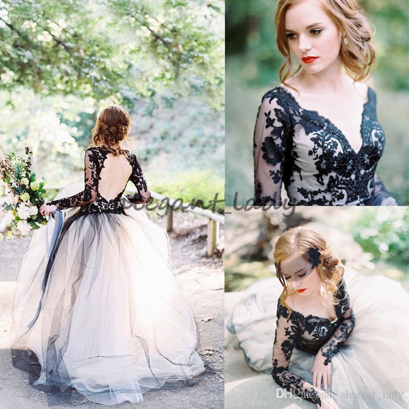 Laço preto do vintage e branco vestidos de noiva Boho Sexy V Neck Backless ilusão mangas compridas Gótico país vestidos de noiva