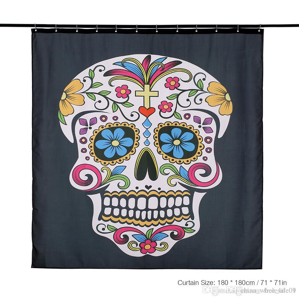 2019 180x180cm Shower Curtain Skull Pattern Size Bathroom Polyester Fabric Water Resistant With 12 C Ring Hook From Free Life01